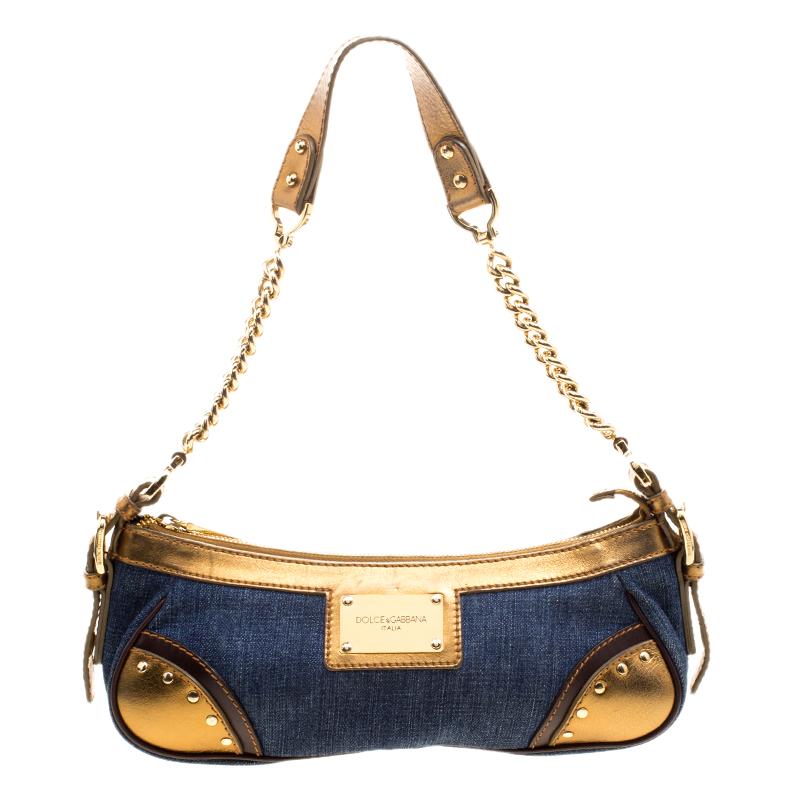 921dd45da1 ... Dolce and Gabbana Blue Gold Denim and Leather Shoulder Bag. nextprev.  prevnext