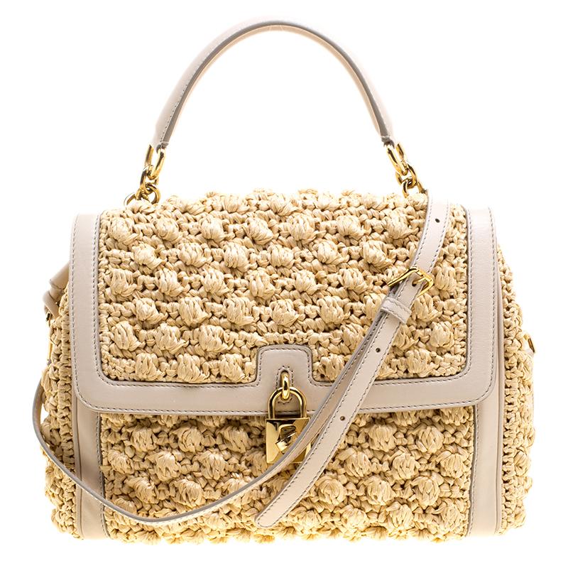 Buy Dolce And Gabbana Crochet Raffia Padlock Shoulder Bag 127197 At