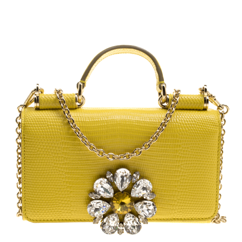 9363e6c050e ... Dolce and Gabbana Yellow Lizard Embossed Leather Crystal Embellished Sicily  Von Smartphone Bag. nextprev. prevnext