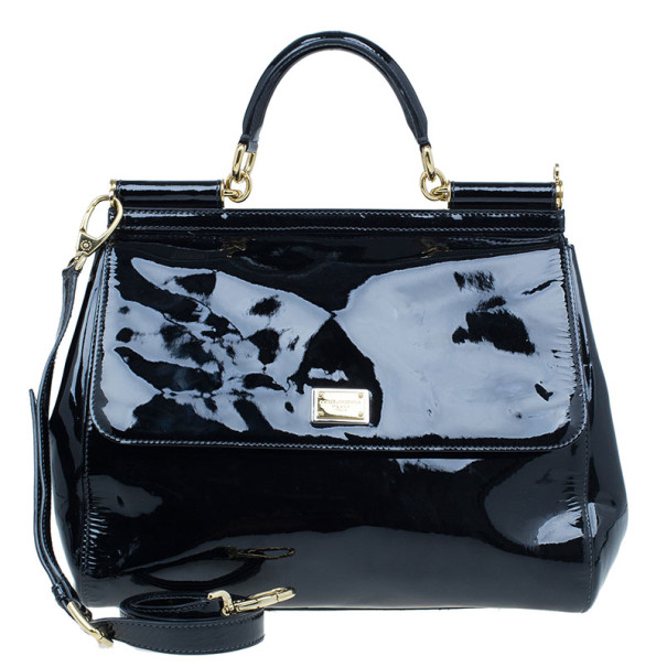 9b0be9fa3eab8 ... Dolce and Gabbana Black Patent Leather Large Miss Sicily Top Handle  Satchel. nextprev. prevnext