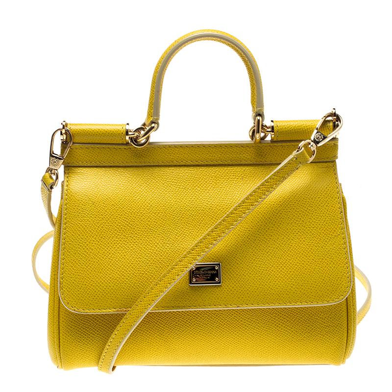 bdc42ca1e6 ... Dolce and Gabbana Yellow Leather Small Miss Sicily Top Handle Bag.  nextprev. prevnext