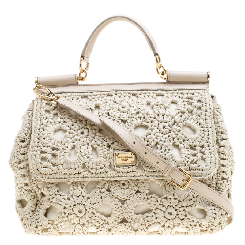 6a97e8c75d8 Buy Dolce and Gabbana Off White Crochet Raffia Large Miss Sicily Top Handle  Bag 138666 at best price | TLC