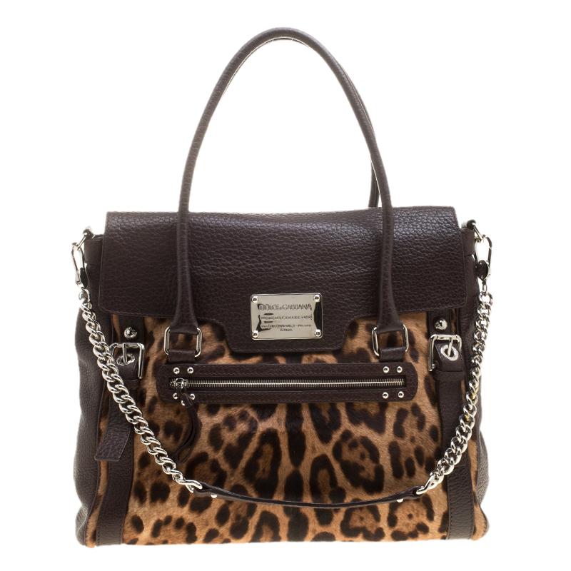 9619423a672 ... Dark Brown Leopard Print Leather and Calf Hair Top Handle Bag.  nextprev. prevnext