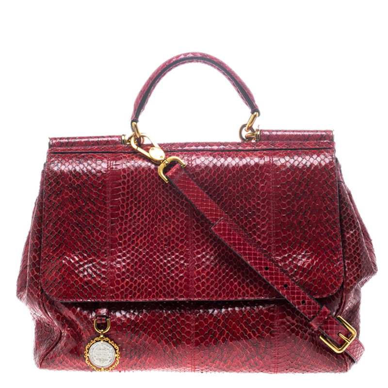Buy Dolce and Gabbana Red Python Medium Miss Sicily Top Handle Bag ... cac189cda13e7
