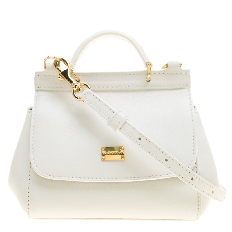 Buy Dolce and Gabbana White Leather Micro Miss Sicily Crossbody Bag ... a68f0d602c