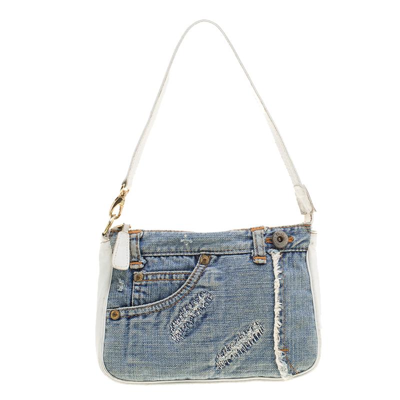 7f66bd2354 ... Dolce and Gabbana Blue White Denim and Leather Shoulder Bag. nextprev.  prevnext