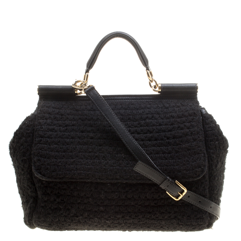 d26828753813 ... Dolce and Gabbana Black Crochet Fabric Large Miss Sicily Top Handle Bag.  nextprev. prevnext