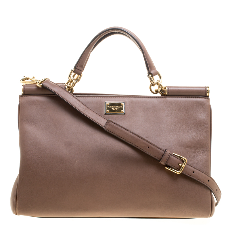 4d5e984dd6 ... Dolce and Gabbana Brown Leather Miss Sicily Tote. nextprev. prevnext