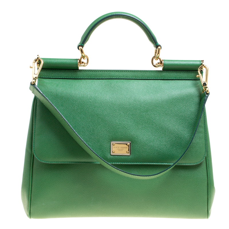 3bd4b2e83337 ... Dolce and Gabbana Green Leather Large Miss Sicily Top Handle Bag.  nextprev. prevnext