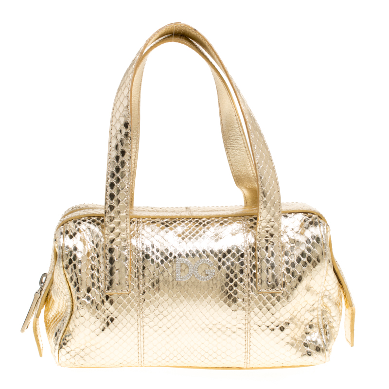 Buy Dolce and Gabbana Gold Snakeskin Satchel 148757 at best price  dad8c60250811