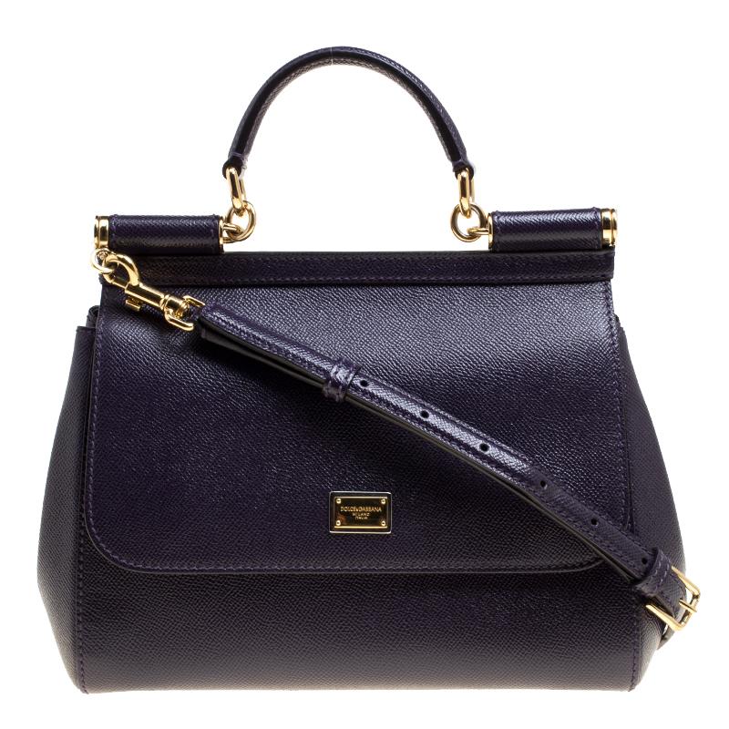 7dc30918c81 ... Dolce and Gabbana Purple Leather Medium Miss Sicily Top Handle Bag.  nextprev. prevnext
