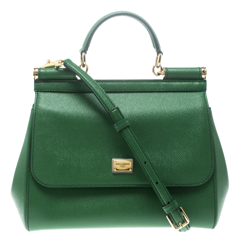 1fbdaafb23 Buy Dolce and Gabbana Green Leather Medium Miss Sicily Top Handle ...