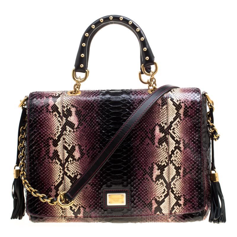 19f8022a6e9f ... Dolce and Gabbana Purple Black Python Leather Top Handle Bag. nextprev.  prevnext