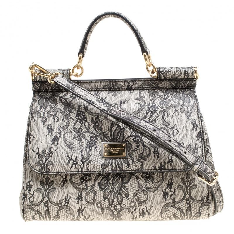 f434cba1218 ... Dolce and Gabbana Beige Lace Print Leather Medium Miss Sicily Top  Handle Bag. nextprev. prevnext