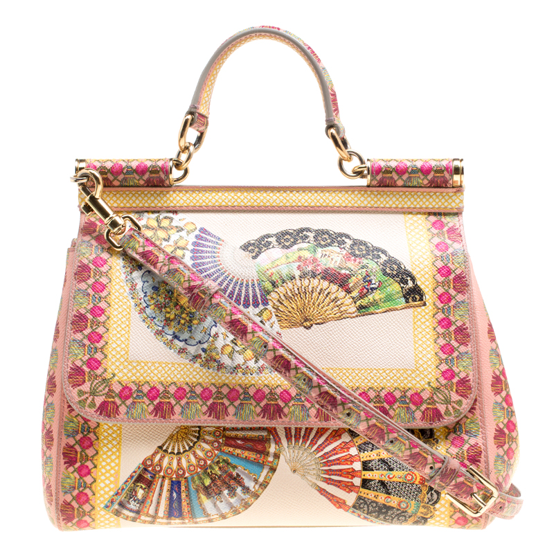 a2244f26a Dolce and Gabbana Multicolor Fan Foulard Printed Leather Medium Miss Sicily  Top Handle Bag