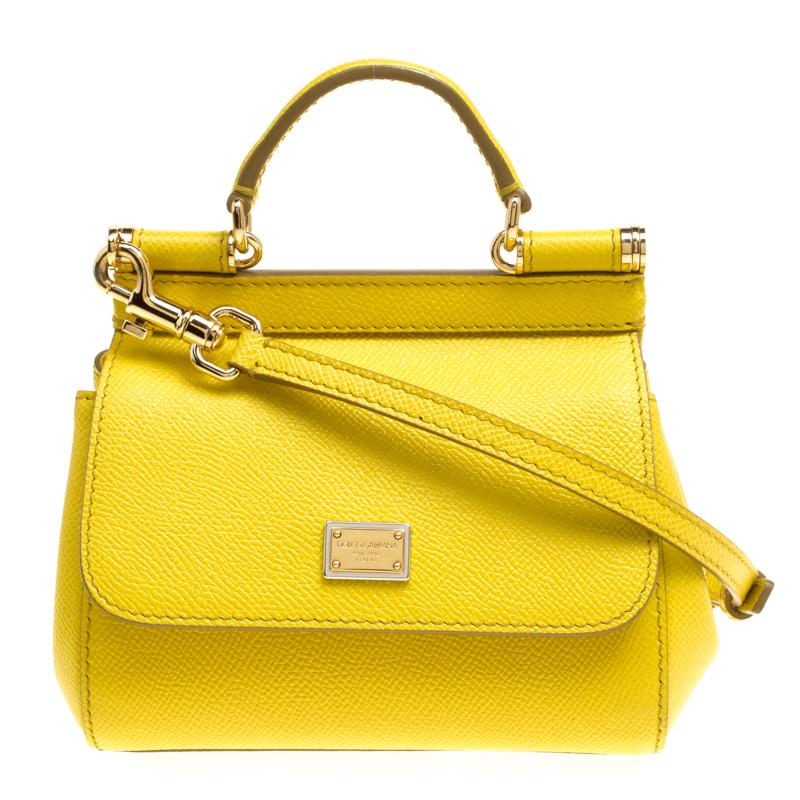 ecd78637c1 ... Dolce and Gabbana Yellow Leather Micro Miss Sicily Top Handle Bag.  nextprev. prevnext