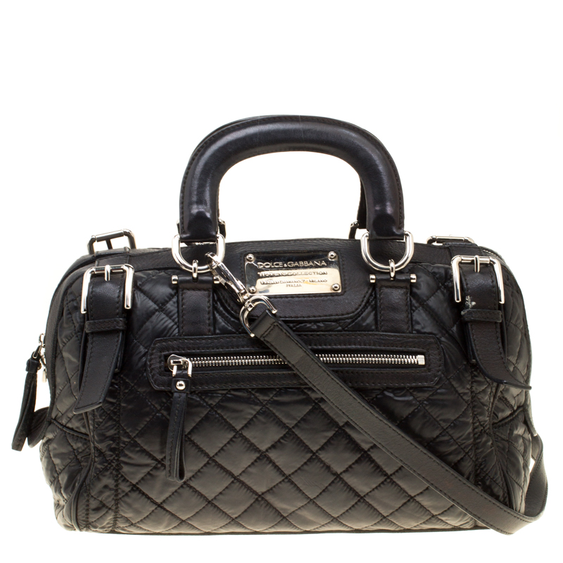 Dolce And Gabbana Black Nylon Leather Miss Easy Way Top Handle Bag