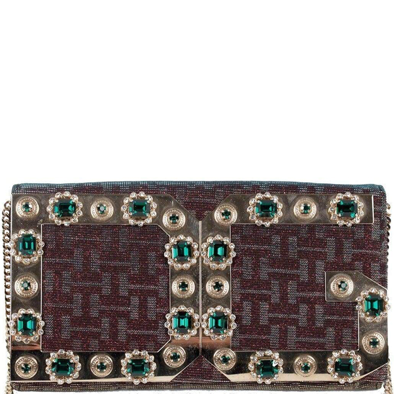 d9f1b1b3764d ... Dolce and Gabbana Two Tone Monogram Canvas Embellished Chain Clutch  Bag. nextprev. prevnext
