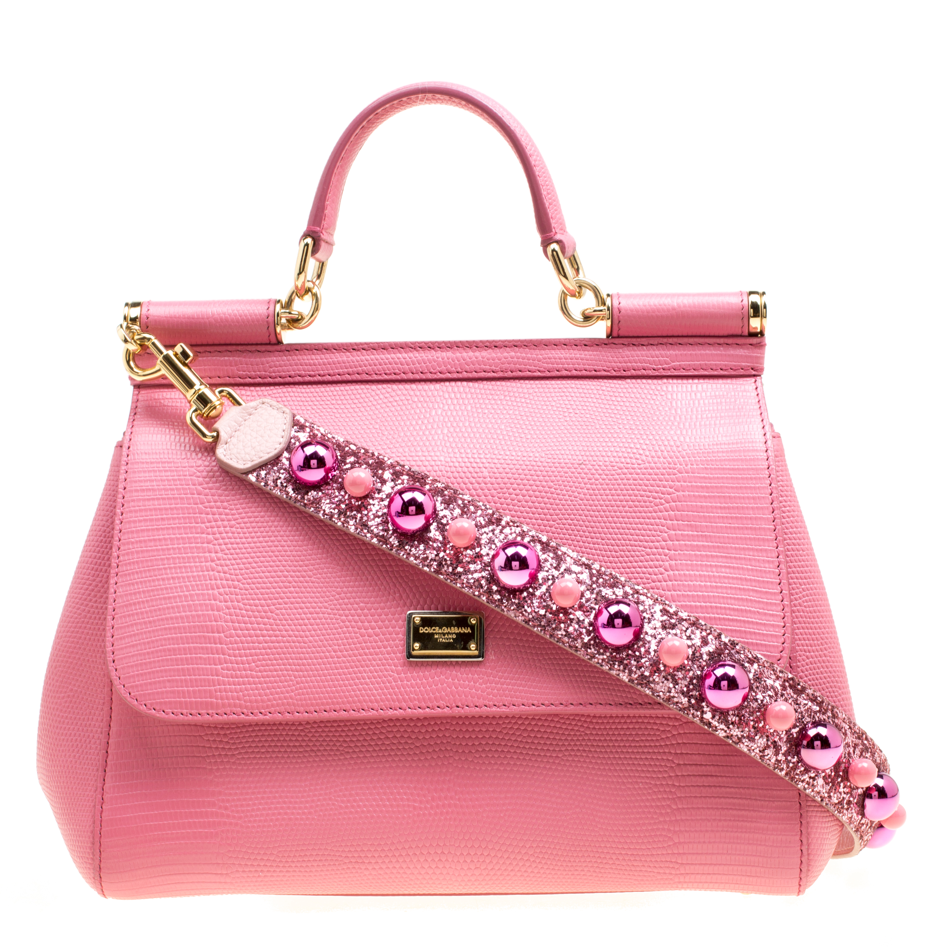 ... Dolce and Gabbana Pink Leather Medium Miss Sicily Top Handle Bag.  nextprev. prevnext 6b75f38bff
