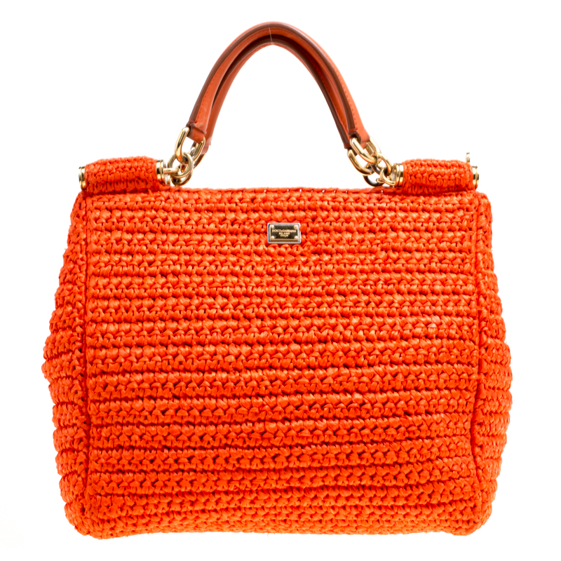 546eb5b797e7 ... Dolce and Gabbana Orange Raffia Miss Sicily Top Handle Bag. nextprev.  prevnext