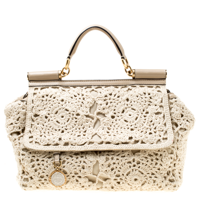 2294e5cb9001 Buy Dolce & Gabbana Off White/Beige Crochet Fabric Large Miss Sicily ...