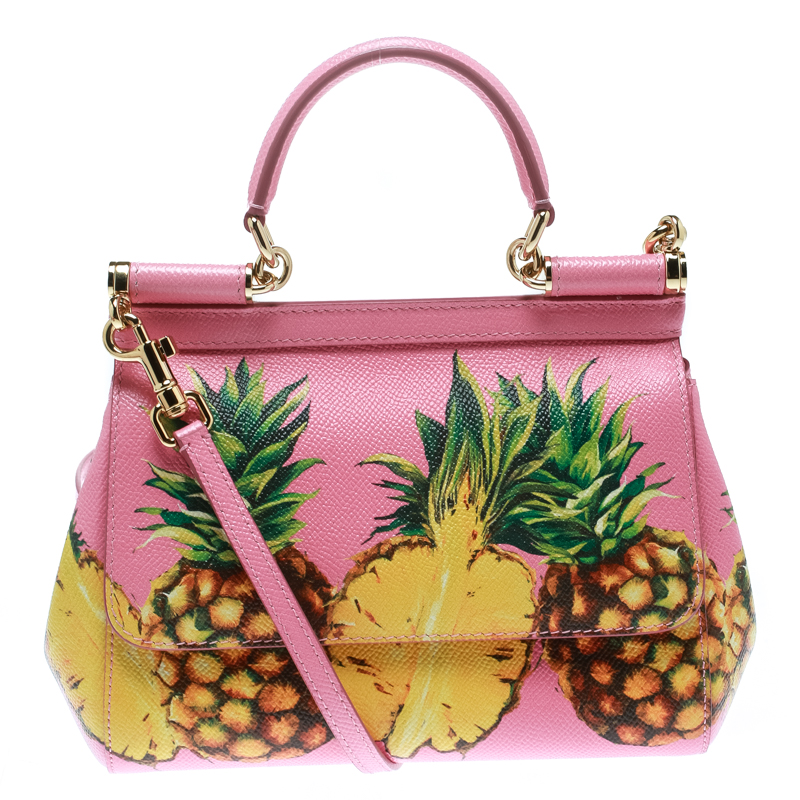 Dolce and Gabbana Pink Pineapple Print Leather Small Miss Sicily Top Handle Bag