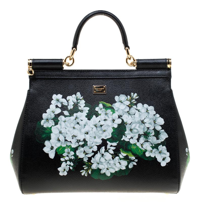 6343aac92aa ... Dolce and Gabbana Black Floral Print Leather Medium Sicily Bag.  nextprev. prevnext