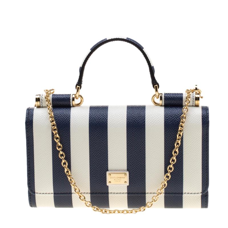 75cb091b3 Buy Dolce and Gabbana Blue/White Strip Leather Miss Sicily Von ...