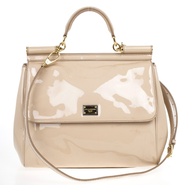 Buy Dolce And Gabbana Beige Patent Leather Miss Sicily Top
