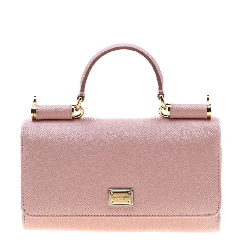 716f44377e4 ... Dolce and Gabbana Blush Pink Leather Sicily Smartphone Von Bag. nextprev.  prevnext