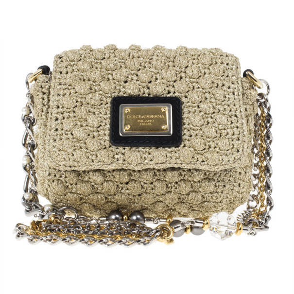 Buy Dolce and Gabbana Sicily Micro Crochet Flap Bag 23521 at best price    TLC 2b7335a969
