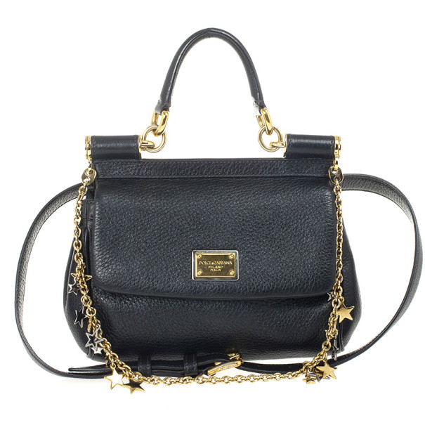 7ff17a4fa8de ... Dolce and Gabbana Black Leather Mini Miss Sicily Belt Bag. nextprev.  prevnext