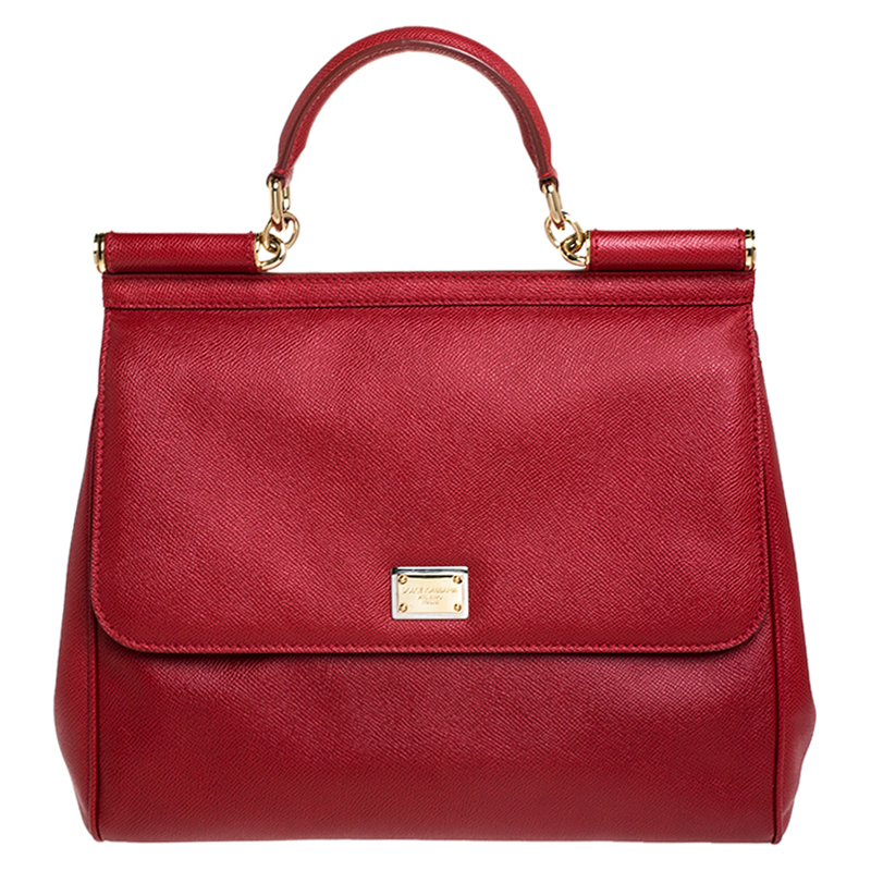 Dolce Gabbana Red Dauphine Leather Medium Miss Sicily Bag