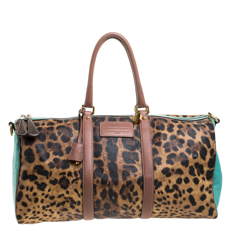 Dolce & Gabbana Multicolor Leopard Print Coated Canvas and Leather Miss Escape Duffle Bag
