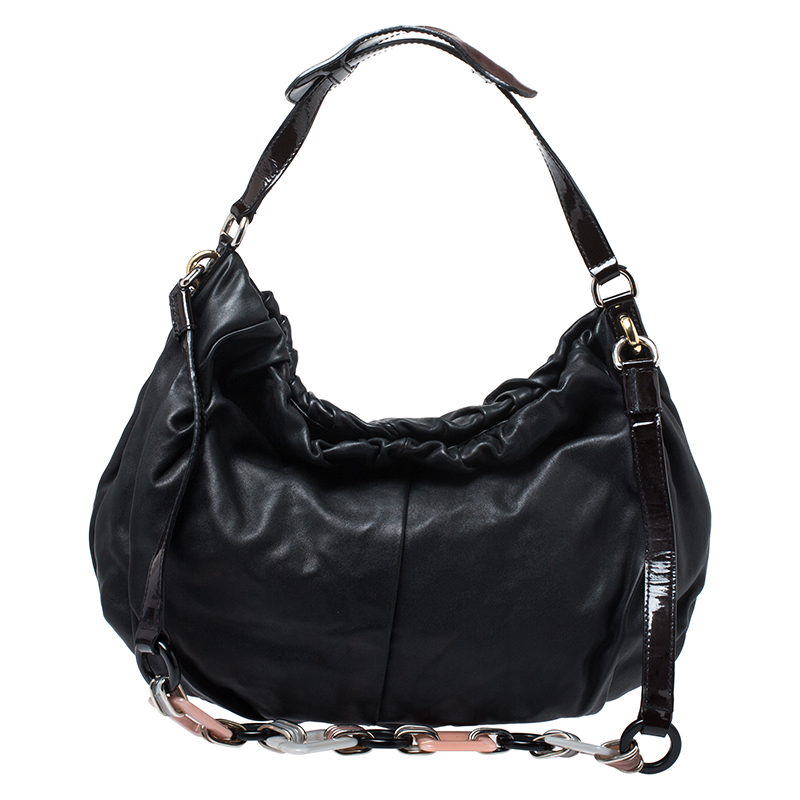 Dolce & Gabbana Black Leather and Patent Leather Pleated Hobo