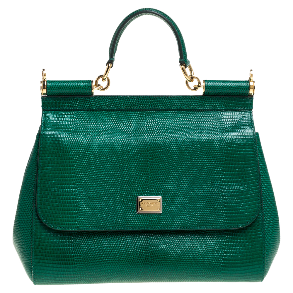 Pre-owned Dolce & Gabbana Green Lizard Embossed Leather Medium Miss Sicily Top Handle Bag