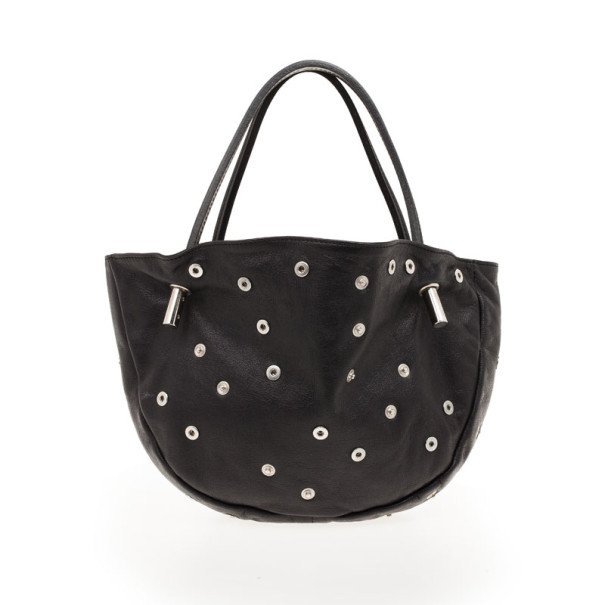 Dolce and Gabbana Black Leather Studded Hobo