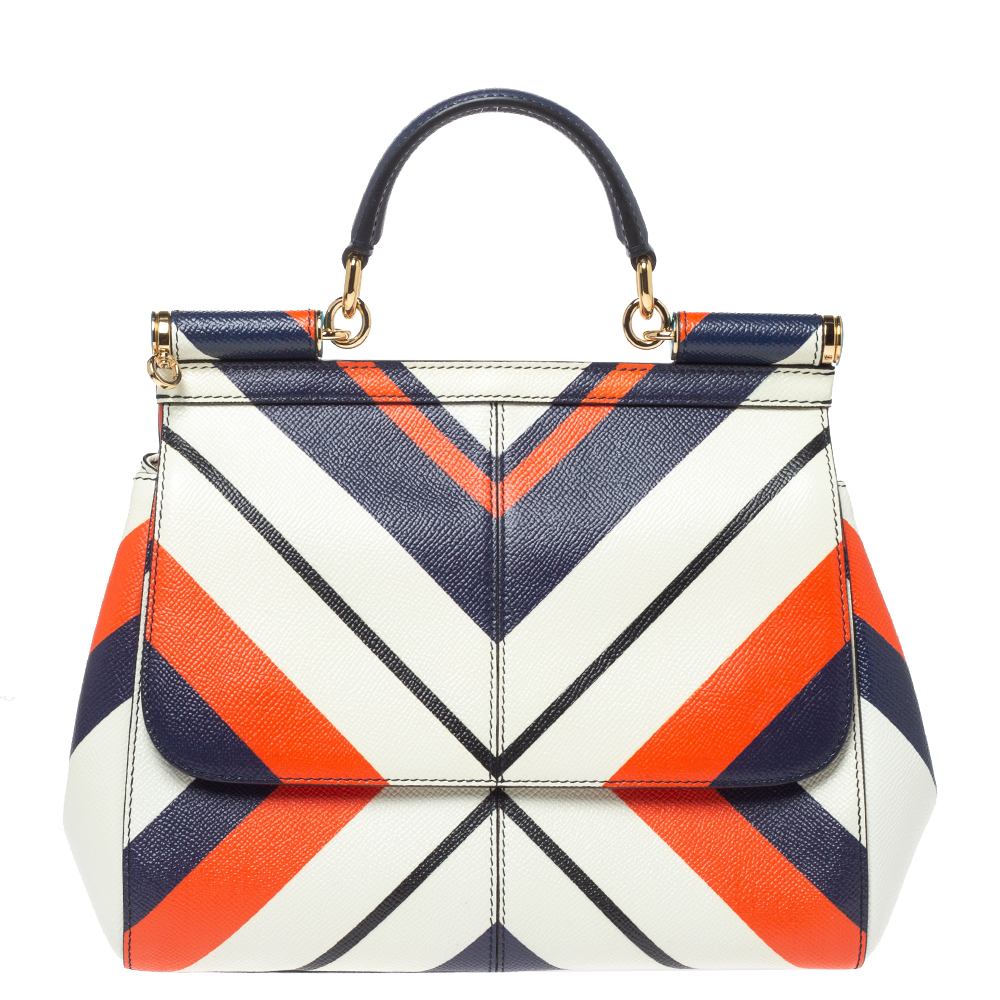 Pre-owned Dolce & Gabbana Tri Color Striped Leather Medium Miss Sicily Top Handle Bag In Multicolor