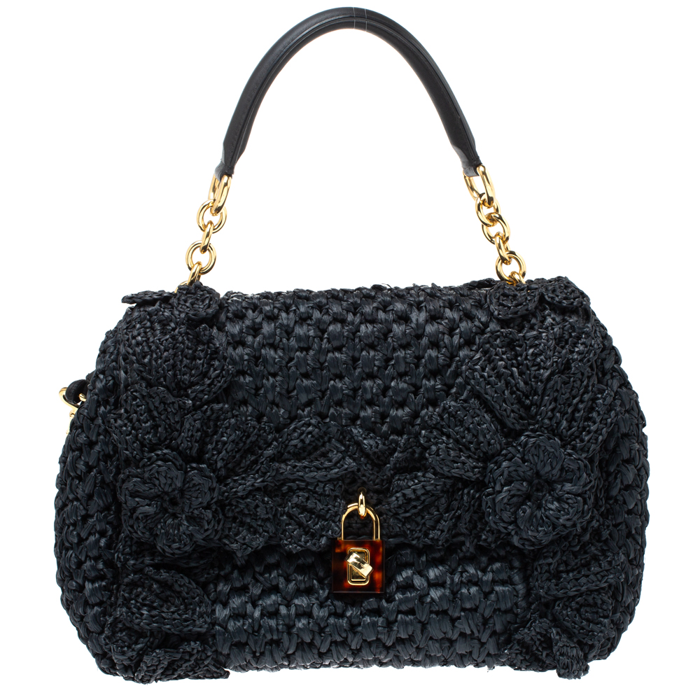 Pre-owned Dolce & Gabbana Black Crochet Straw And Leather Miss Dolce Top Handle Bag
