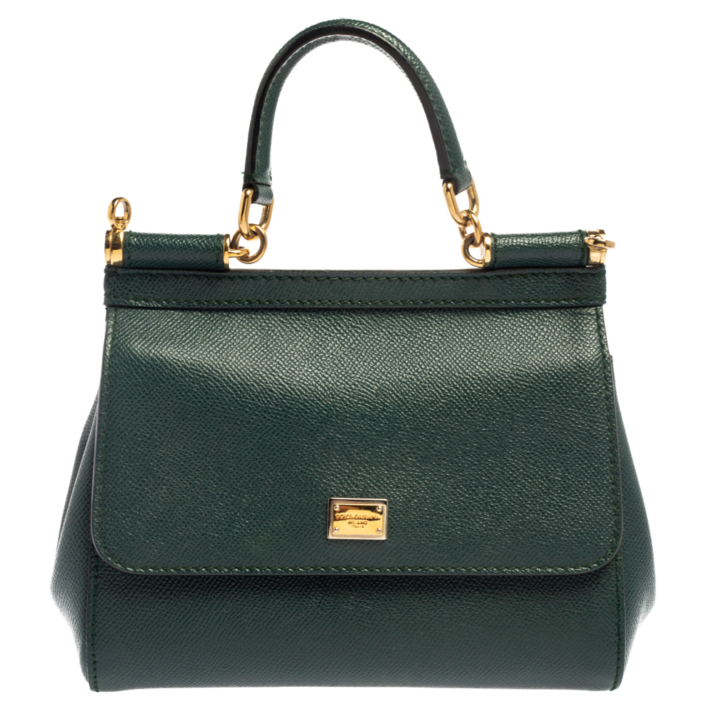 Dolce & Gabbana Dark Green Leather Small Miss Sicily Top Handle Bag
