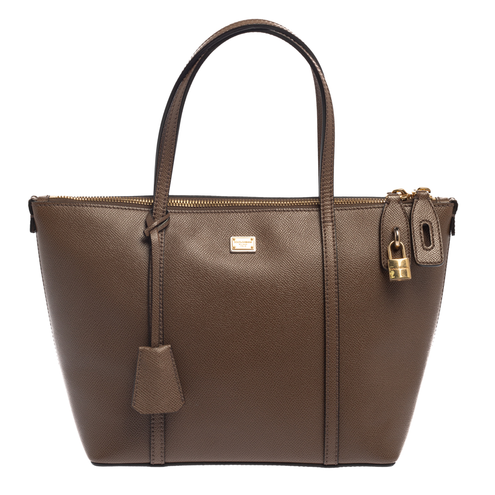 Pre-owned Dolce & Gabbana Dark Beige Leather Miss Escape Tote