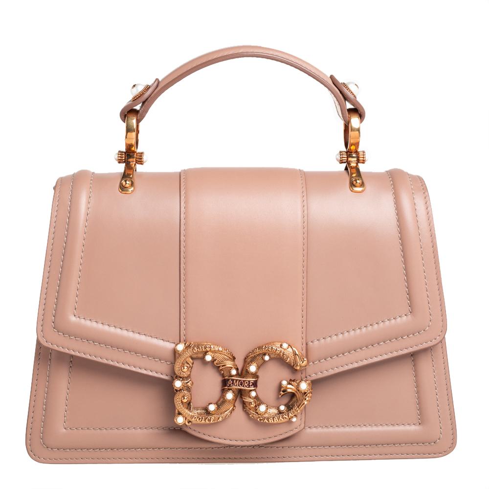 Dolce & Gabbana Beige Leather DG Amore Top Handle Bag