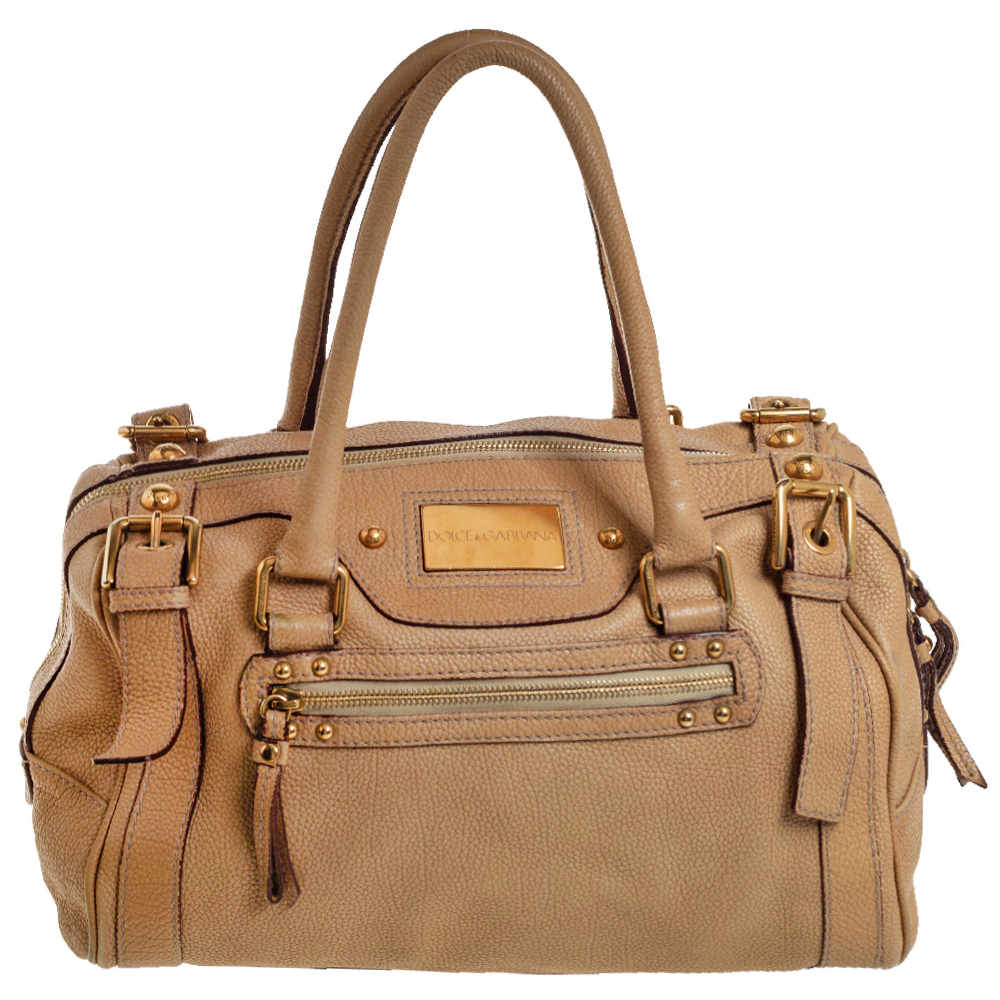 Pre-owned Dolce & Gabbana Beige Grained Leather Miss Easy Way Boston Bag