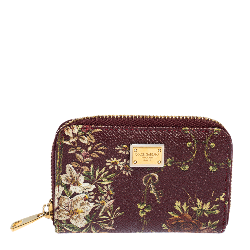 Pre-owned Dolce & Gabbana Dolce & Gabanna Multicolor Floral Leather Coin Purse