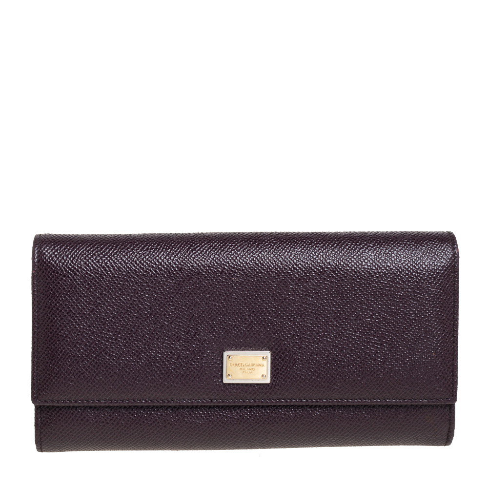 Pre-owned Dolce & Gabbana Burgundy Leather Dauphine Continental Wallet