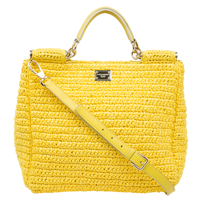 ... Dolce and Gabbana Yellow Woven Raffia Miss Sicily Tote Bag. nextprev.  prevnext 30d65c449c2a4