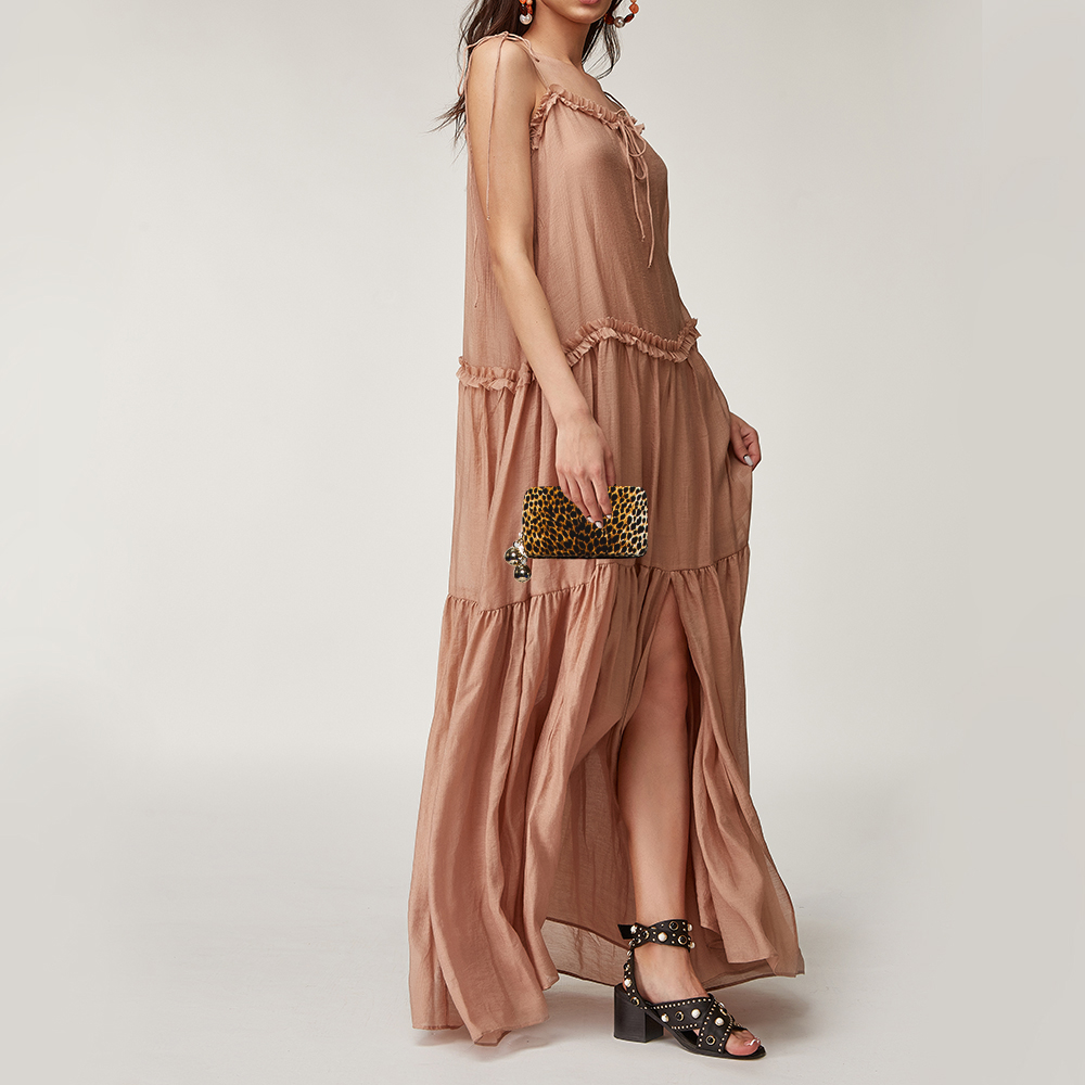 Dolce & Gabbana Multicolor Leopard Print Fabric Zip Around Clutch