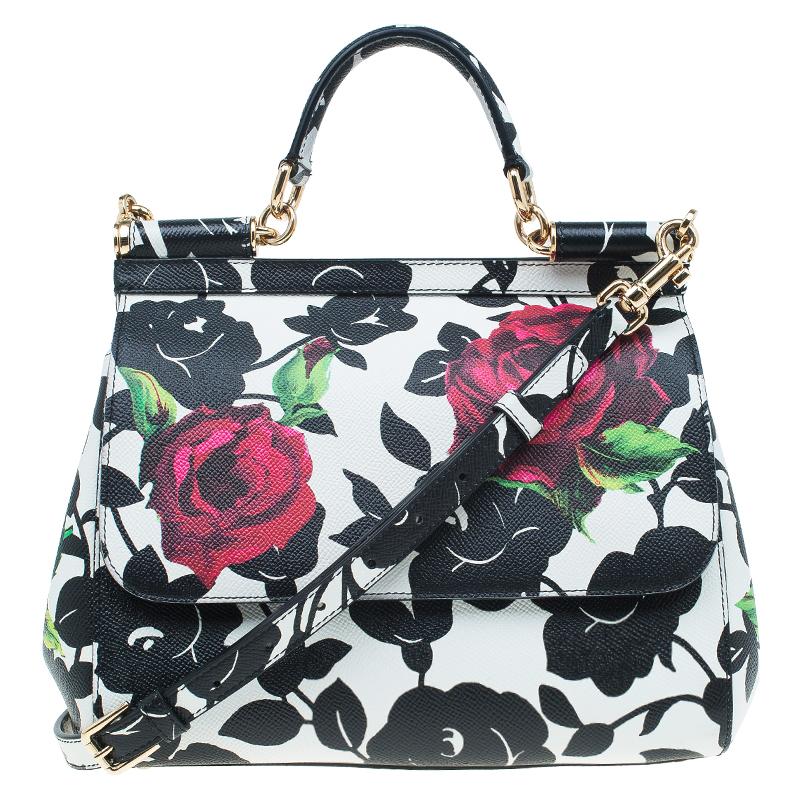 73cce4cfb38d ... Dolce and Gabbana Black White Leather Medium Rose Print Miss Sicily Tote.  nextprev. prevnext