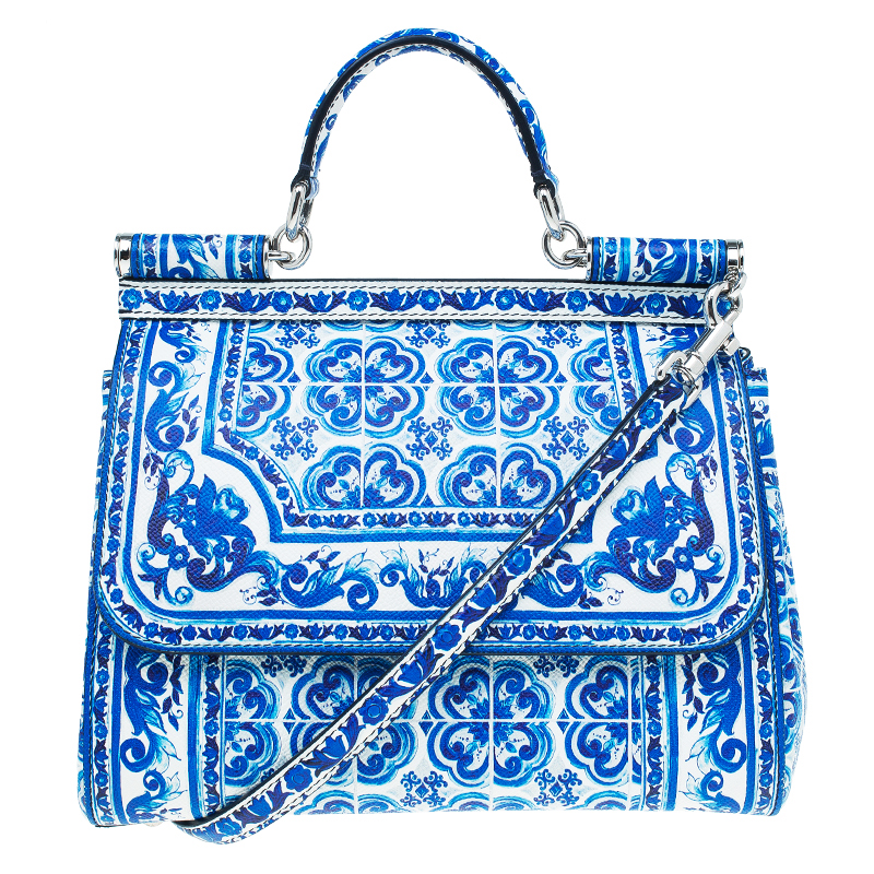 a841f2c348 Buy Dolce and Gabbana Blue Majolica Print Leather Medium Miss Sicily Tote  53511 at best price