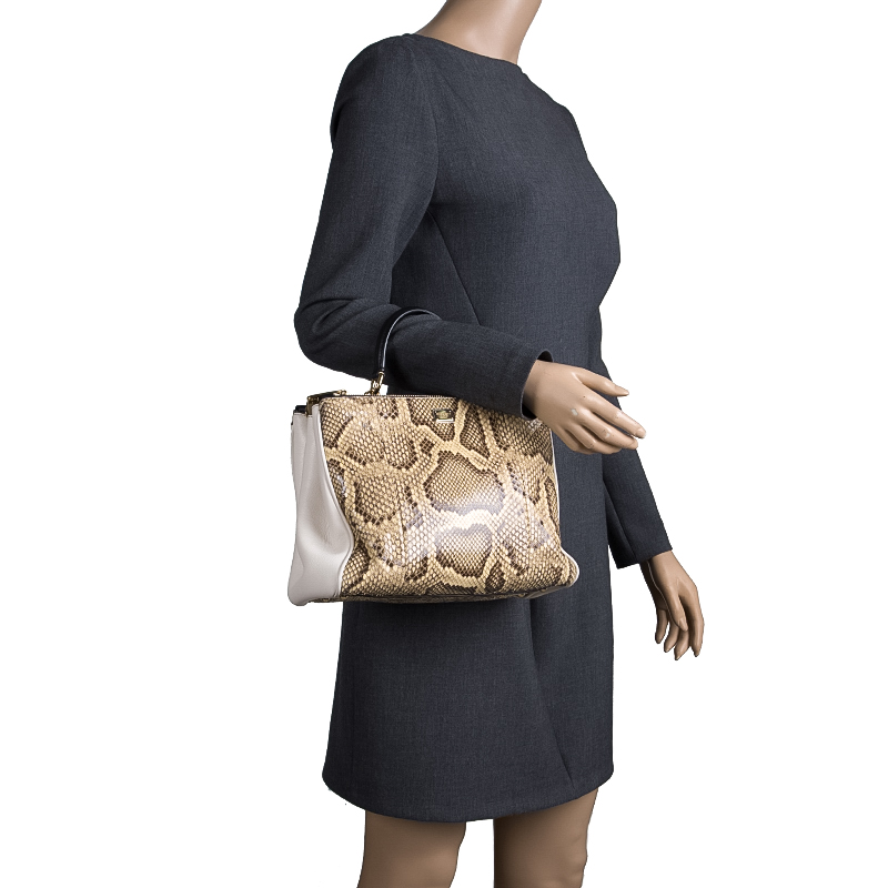 Dolce and Gabbana Python and Leather Medium Miss Sicily Shopper Tote, Cream